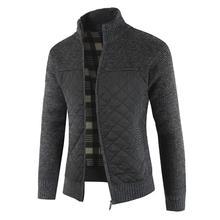 2021 Casual Men Autumn Zip Thick Knitted Sweater Pockets Warm Slim Cardigan Coat мужская куртка