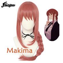 Chainsaw ebingoo】homem motosserra makima cosplay perucas trançado vermelho longo resistente ao calor do cabelo sintético halloween party role play