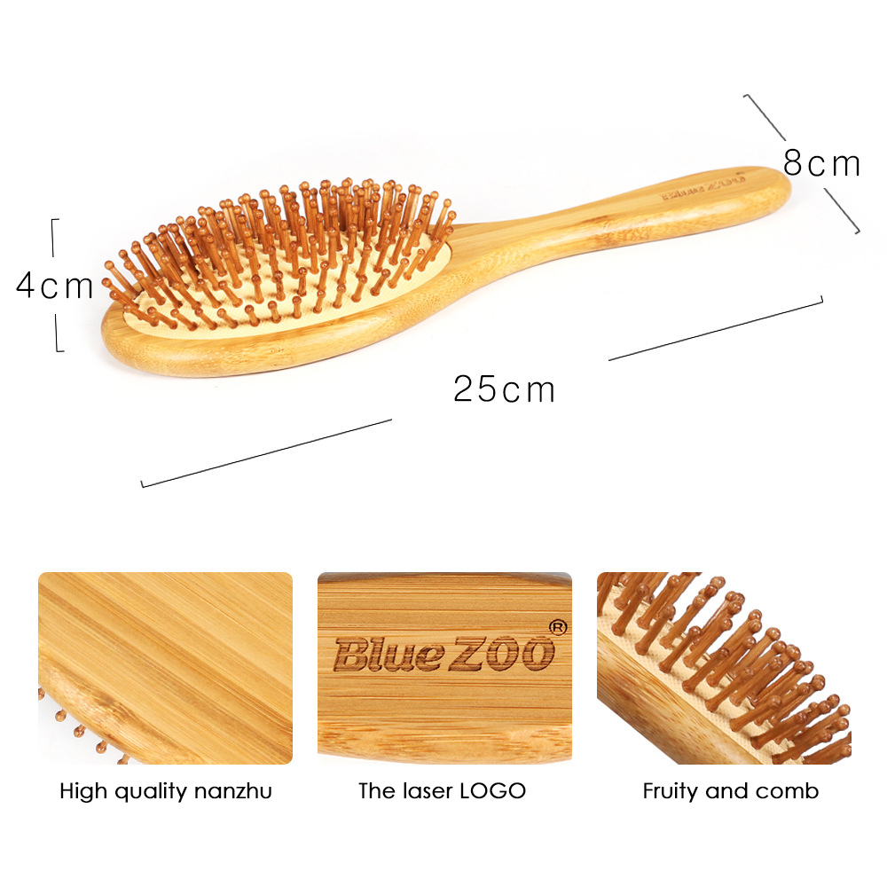 1Pc Natural Healthy Bamboo Wooden Handle Needle Bristle Massage Scalp Anti-static Hair Brush Comb Improve Hair Loss Comb Tool