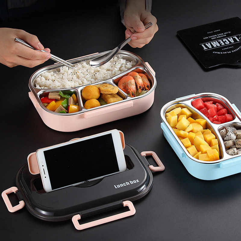 Baispo Lunch Box For Kids With Compartments 304 Stainless Steel Japanese Bento Box Microwave Heating Food Container Tableware