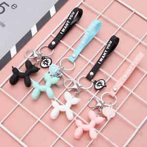LXJERY 4 Colors Cute Cartoon Balloon Dog Keychain Lovely Key Chain For Women Bag Charm Pendant Key Ring Gifts Jewelry