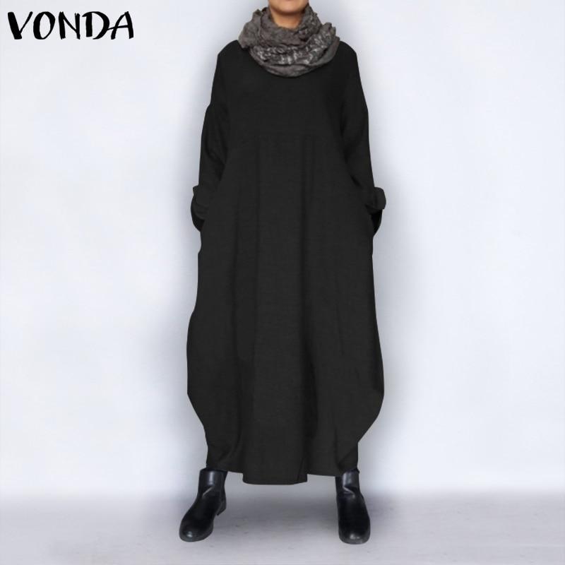 VONDA Plus Size Summer Dress 2019 Women Vintage Long Sleeve Party Maxi Long Dress Thin Robe Femme Casual Loose Vestidos Robe