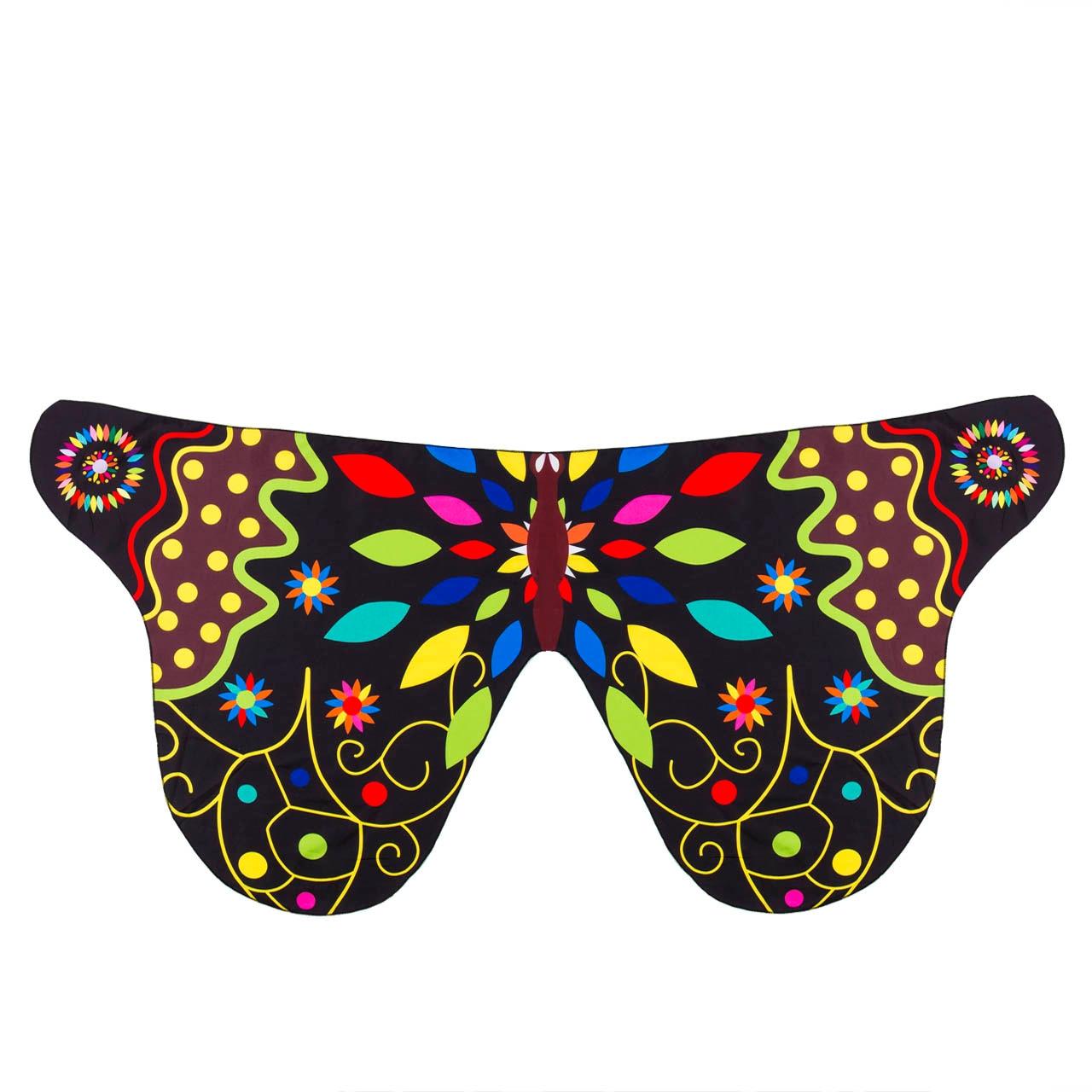 Pudcoco Детский шарф для девочек красивое крыло шаль бабочки шарфы летнее пляжное пончо костюм аксессуар пончо и накидки - Цвет: Черный