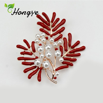 Hongye Ladies Red Coral Gorgeous Quality Natural Pearl Pin Brooch Retro Look Flower Brooch Pins Jewelry Free Delivery Brooches