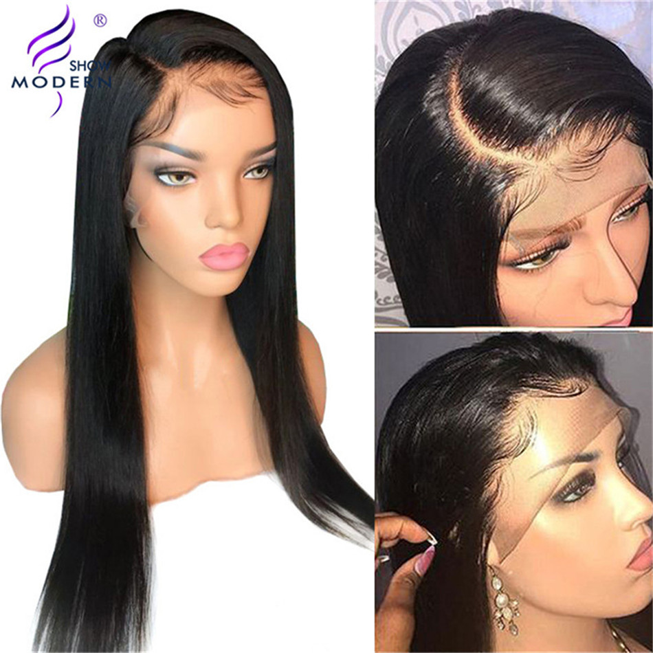 Human Hair 13*4 Lace Front Wig 150% Density Pre Plucked Brazilian Straight Remy Lace Front Wig For Black Women Modern Show Hair