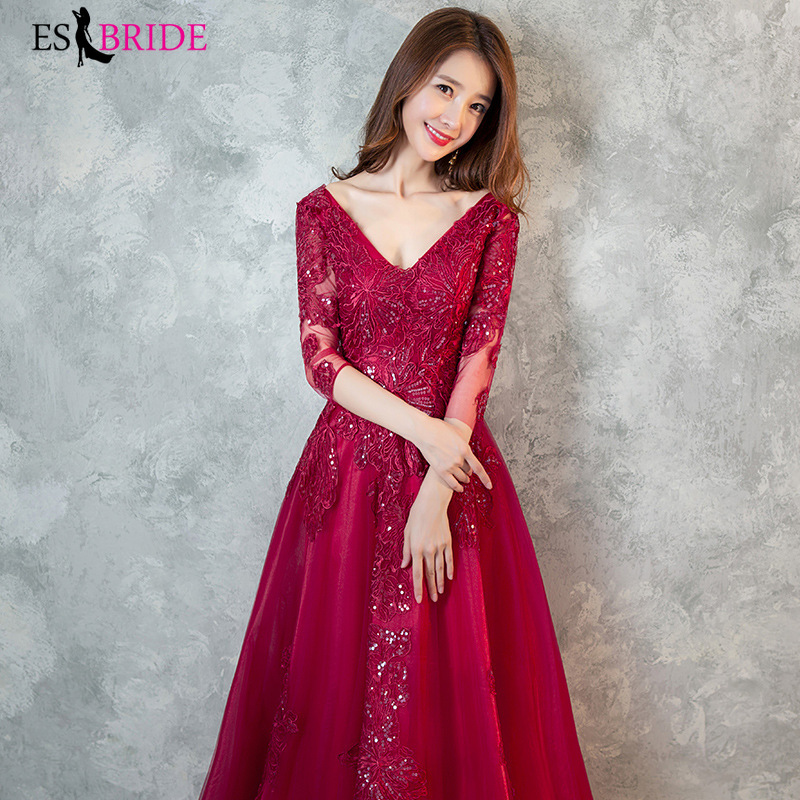 Red Formal   Evening     Dresses   Long 2019 Backless Sexy V-neck Half Sleeve Wedding Guest Gown Elegant Abito Da Cerimonia ES1403