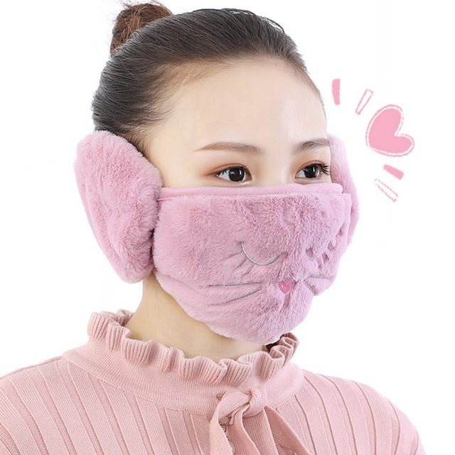 2 In 1 Rabbit Ear Earmuffs Kids Mouth Mask Windproof Mouth-Muffle Anti Dust Winter Children Anti Haze Flu Cotton Face Cover 2