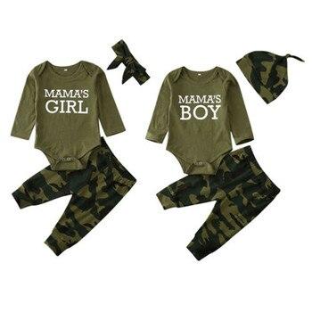 0-24 meses Unisex bebé camuflaje ropa niños mamás mamelucos pantalones de camuflaje 3 uds conjuntos conjunto de ropa para niñas pequeñas