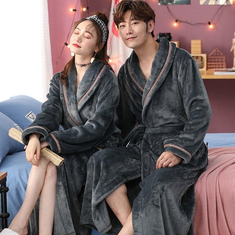 Homewear Women Flannel Lingerie Sleep Wear Nightgown Kimono Robe Coral Fleece Winter Warm Bathrobe Gown Home Clothing Nightwear
