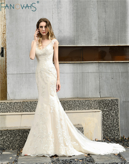 Винтажное свадебное платье Русалка 2019 свадебное платье с V образным вырезом Свадебное платье с открытыми плечами свадебное платье
