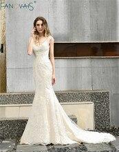 Vintage בת ים שמלות כלה 2019 vestido דה noiva V צוואר חתונת כותנות robe דה mariee כבוי כתף הכלה שמלת trouwjurk