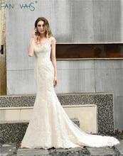 Vintage Abito Da Sposa Mermaid 2019 vestido de noiva Con Scollo A V Abiti Da Sposa abito da sposa Al Largo della Spalla Abito Da Sposa trouwjurk