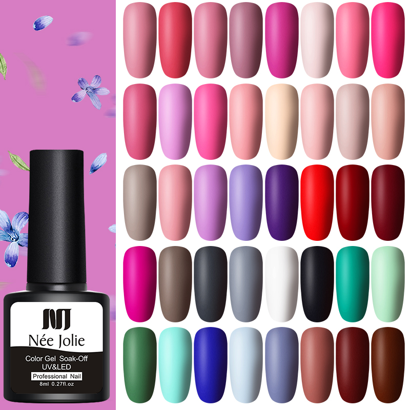 NEE JOLIE 8ml Matting Gel Polish Soak Off UV Gel Varnish One-shot Color Long Lasting Nail Art Gel Matte Top Coat