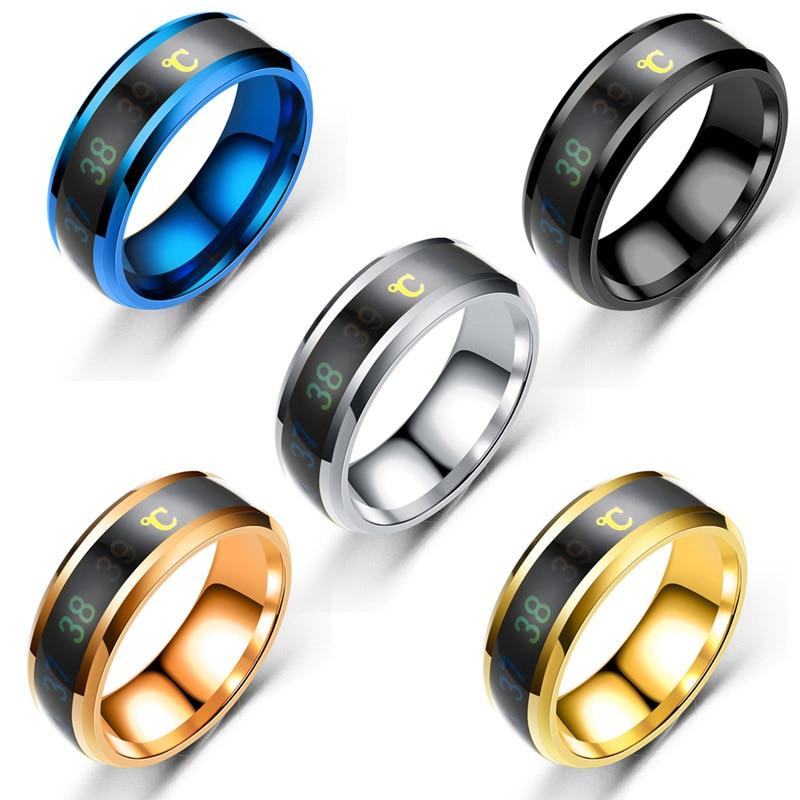 Температура кольцо Титан Сталь настроение чувства эмоции интеллигентая (ый) Температура чувствительного кольца прядильная цепь кольцо Для...