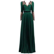 2019 nuevo vestido verde para mujer
