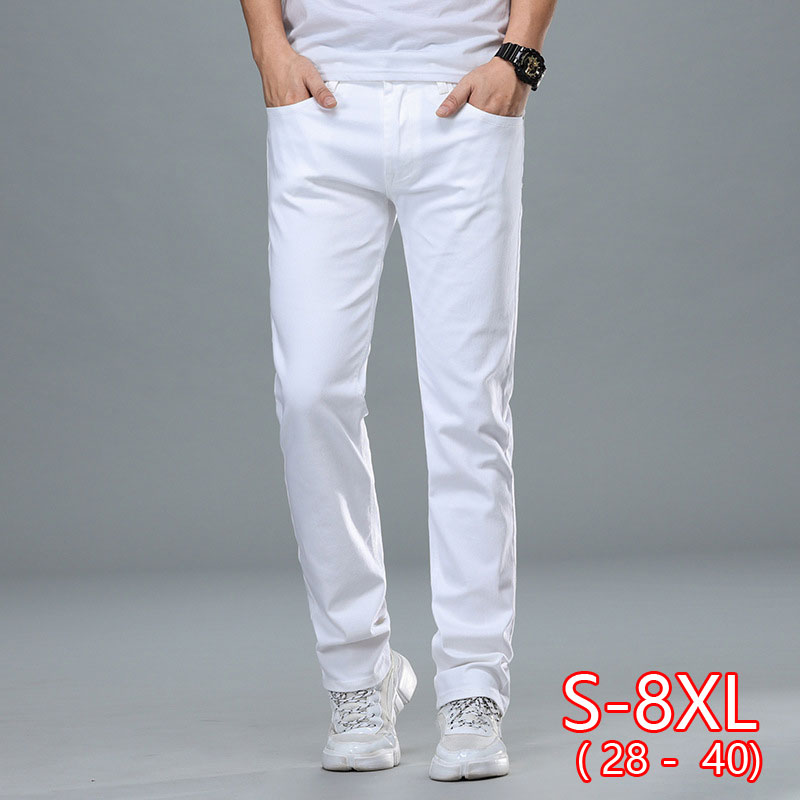 Classic Style Men's Regular Fit White Jeans Business Fashion Denim Advanced Stretch Cotton Trousers Male Brand Pants