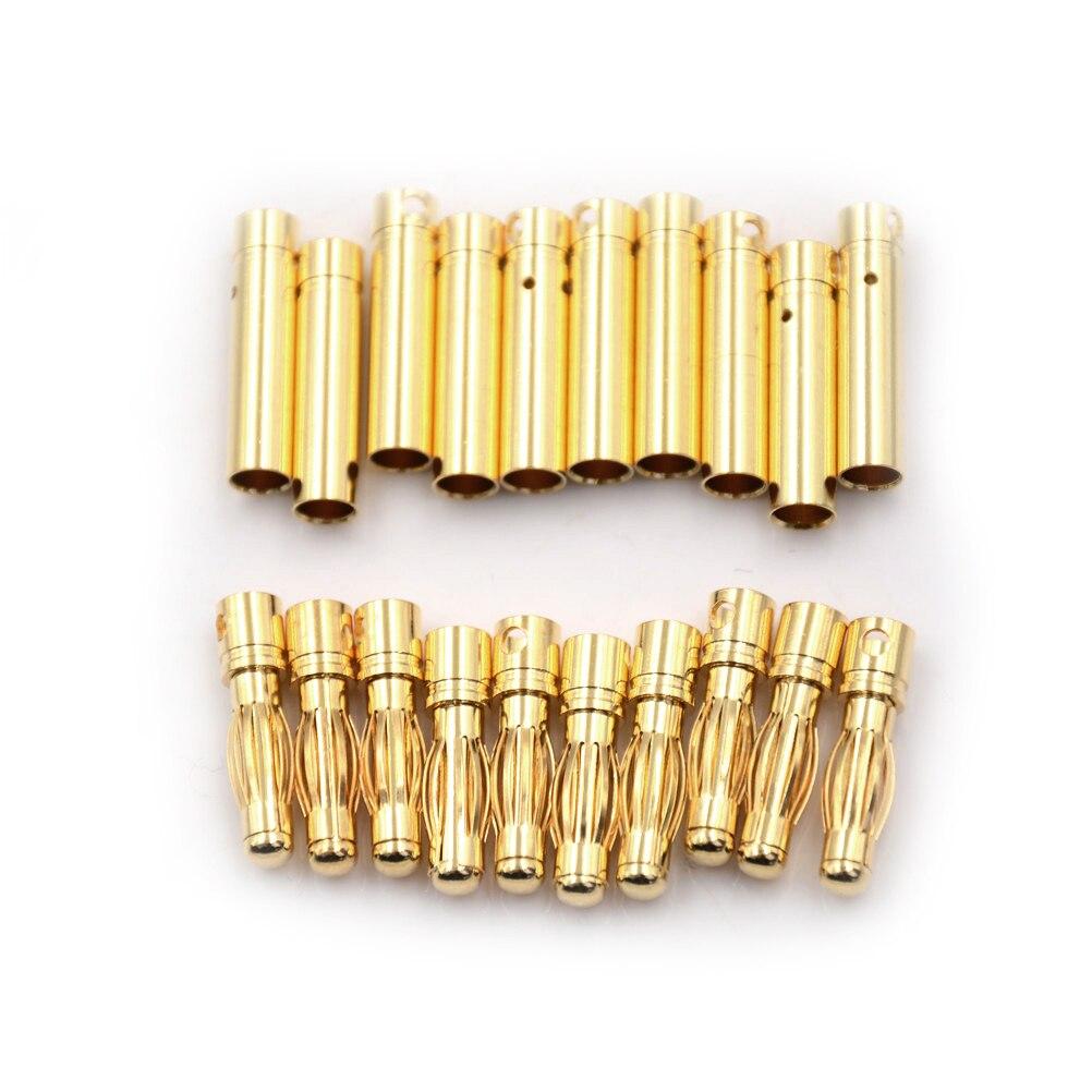 10 pares 4mm RC batería oro-plateado bala de plátano enchufe de alta calidad macho hembra conector de bala de plátano