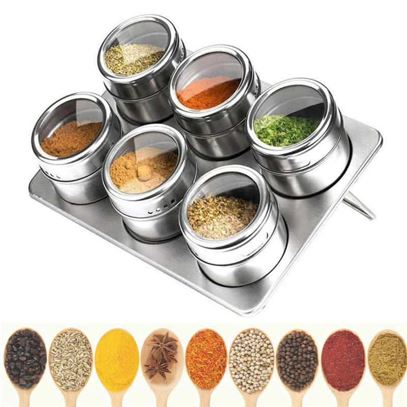 Magnetic Spice Jar with Spice Holder Stainless Steel Spice Jar Spice Storage Tank Canned Pepper Sauce Jar Shake Flask 6 Pack|Racks & Holders|Home & Garden - title=
