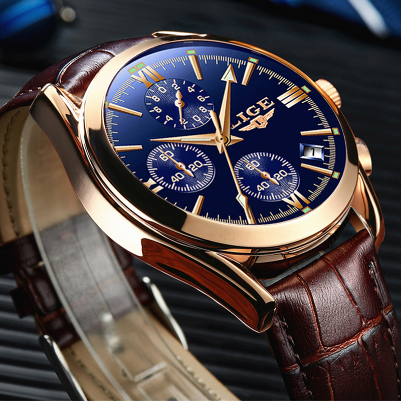 2019 Fashion Leather Waterproof Quartz Watch For Mens Watches LIGE Top Brand Luxury Creative Dial Date Clock Relogio Masculino