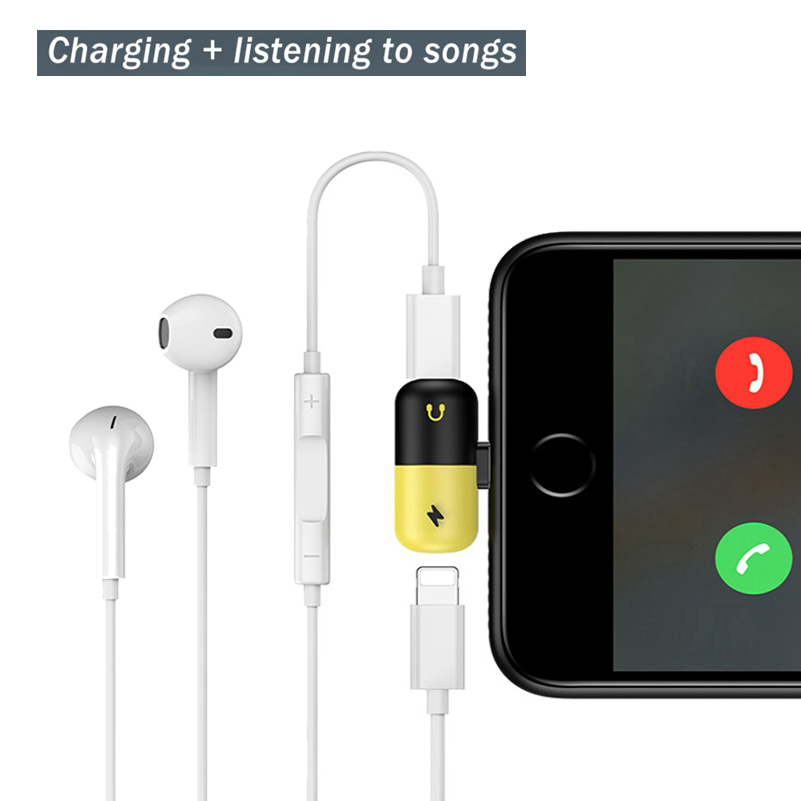 Charging <font><b>Cable</b></font> Adapter Dual <font><b>2</b></font> in 1 Splitter For Lightning 8 <font><b>Pin</b></font> Charger Converter For iPhone 7 8 Plus X Mini Earphone Connector image