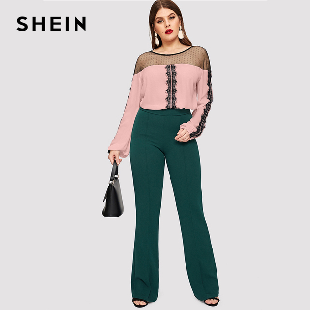 SHEIN Dot Contrast Mesh Lace Insert Colorblock Top Plus Size Elegant Blouses 2019 Women Spring Bishop Sleeve Top Blouse 5