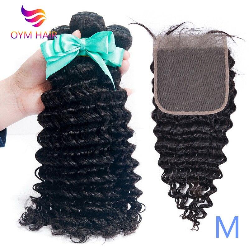 OYM HAIR Deep Wave Bundles With Closure Human Hair Bundles With Closure Remy Brazilian Hair Weave Bundles With 6X6 Closure