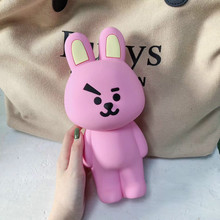 Super Big Pencil Case Silicone Cute School Supplies Creative Stationery Kids Box Pen Bag Soft Pink Rabbit Pouch