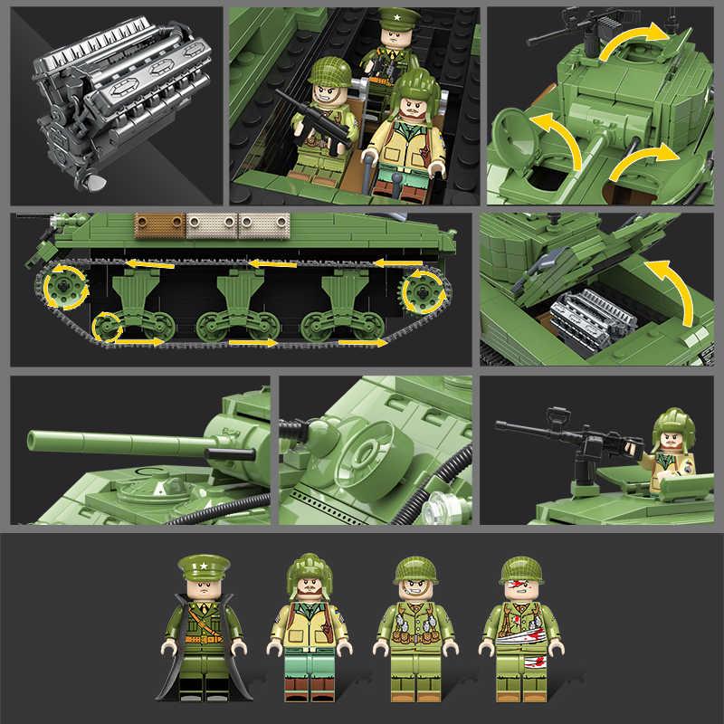726 قطعة العسكرية الأمريكية شيرمان M4A1 تانك اللبنات تكنيك مدينة الشرطة WW2 تانك الجندي سلاح الجيش الطوب الاطفال اللعب