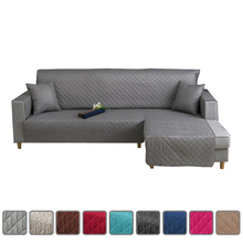 L Shape Sofa Cover For Living Room Corner Couch Covers Non Slip Quilted One-Piece Slipcover Furniture Protector Grey Black Blue