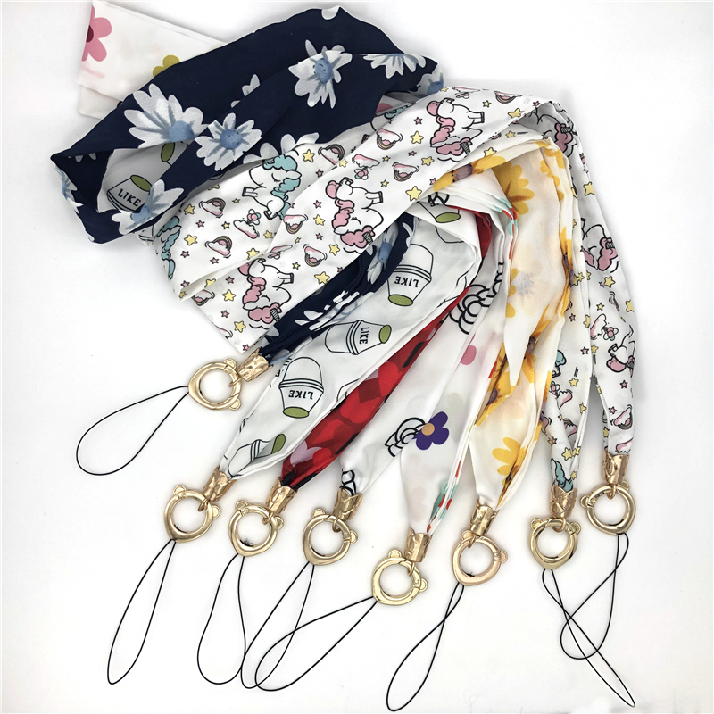 Print Neck Strap Chiffon Wide Necklace Lanyard for Airpods Key Id Card Gym Phone with USB Badge Holder DIY Lanyard,White