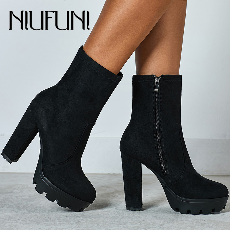NIUFUNI 2020 Women Ankle Boots Autumn Round Toe Platform Boots Fashion Black Suede High Heel Shoes Botas Mujer