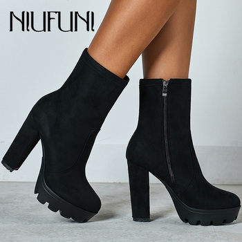 NIUFUNI 2020 Women Ankle Boots Autumn Round Toe Platform Boots Fashion Black Suede High Heel Shoes Botas Mujer kulada boots women double zippers ankle boots women suede leather boots women high heels thick soles basic botas mujer