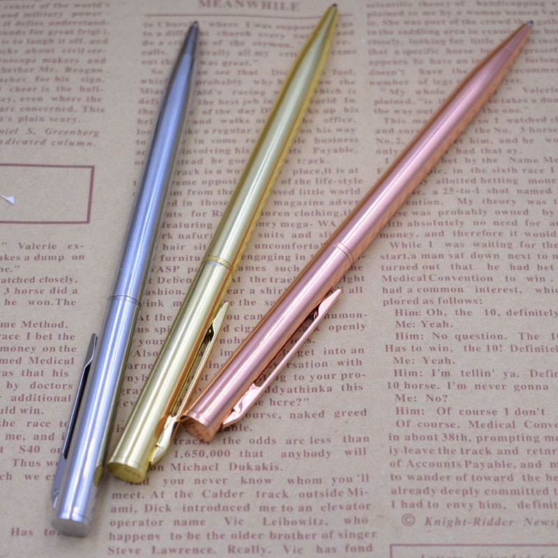 Luxury Ballpoint Pen Stainless Steel Handle Rods Rotating Metal Ball Pens For School Office Stationery Ink Black Joy Corner in Ballpoint Pens from Office School Supplies