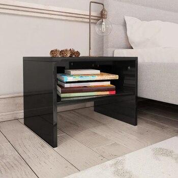 VidaXL Bedside Cabinets 2 Pcs High Gloss Black 40x30x30 Cm Chipboard 800078