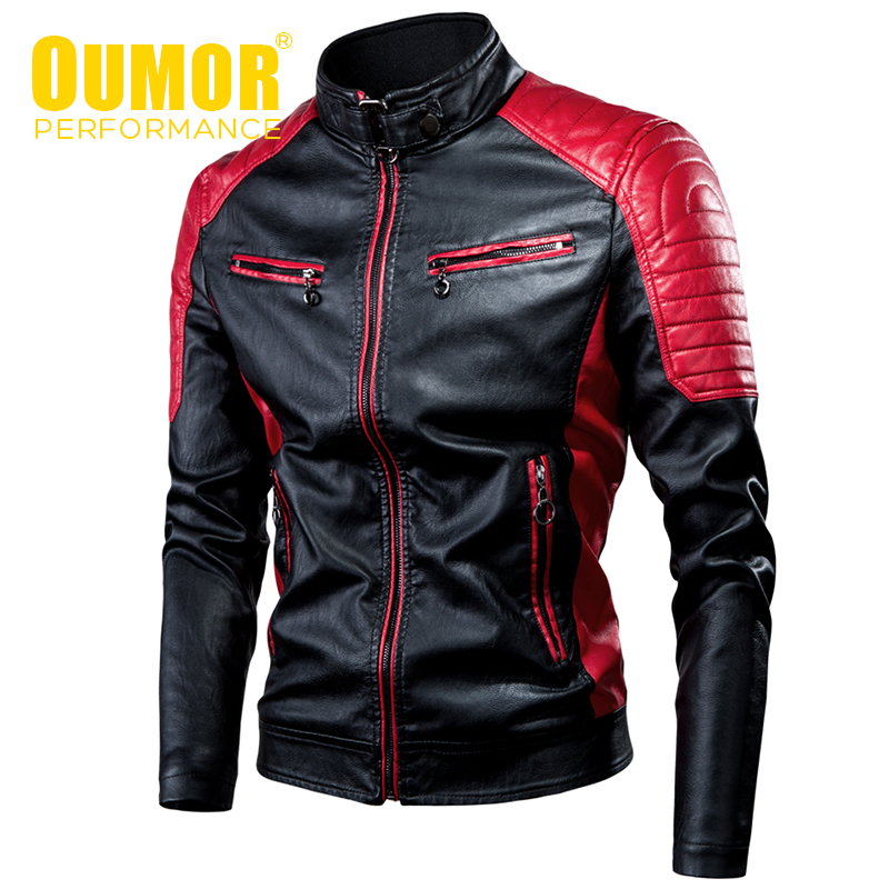 Oumor Men 2019 Winter Casual Motor Spliced Fleece Leather Jacket Men Autumn Fashion Biker Vintage Warm Leather Jacket Coat Men