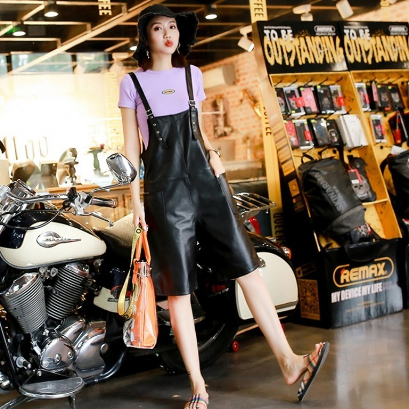 Womens Shorts Sheepskin Genuine Leather Casual High Quality Soft Female Trouser Autumn Streetwear Straps Short Suspender Shorts