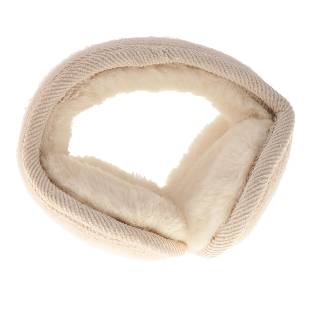 Unisex Foldable Ear Warmers Plush Fleece Winter EarMuffs Behind Head