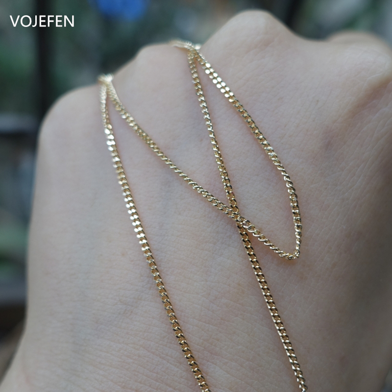 VOJEFEN AU750 18k Real Gold Chain Necklace for Women/Men, Pure Golden Big Link Choker With Fine Jewelry Gift 2021 NEW 2