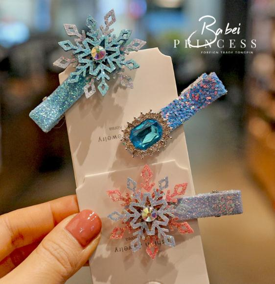 Girls' Hair Clips Princess Hair Accessories, Party Hairstyle Cards Snowflakes