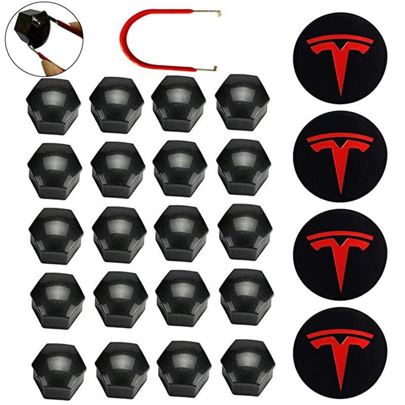 Pour Tesla enjoliveur de roue enjoliveur de roue Kit de capuchon de moyeu pour Tesla modèle 3 S X roue voiture accessoires moyeu couvercle emblème Badge + écrous de roue
