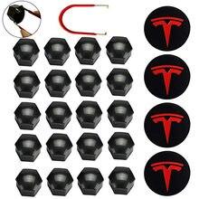 Kit de couvercle de roue pour Tesla, garniture de moyeu de roue pour Tesla Model 3 S X, accessoires de voiture, couvercle de moyeu, Badge, couvercle d'écrou de cosse
