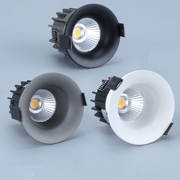 Super Bright Recessed LED Downlight COB Dimmable 7W 9W 12W LED Ceiling Spot Lights AC110-220V LED Ceiling Lamp with 3 colors