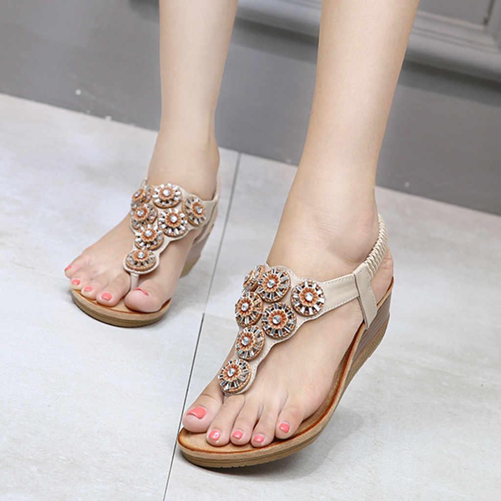 Bohemen Zomer Vrouwen Dames Bling Bloem Crystal Platte Sandalen Strand Casual Schoenen Sexy Hoge Kwaliteit Buiten Dames Schoenen # G5