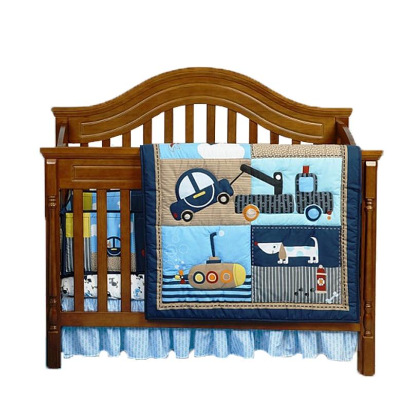 4PCS/Set Cotton Nursery Bedding Set Including Soft Blanket Crib Skirt Bumper Cot Sheet  Oddler Toddler Baby Bed Linens
