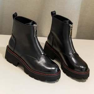Image 5 - Cracando botas de couro genuíno, botas de couro para motocicleta, dedo do pé redondo, cores preta, inverno l28