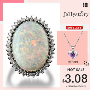 Jellystory Trendy Silver 925 Jewelry Ring Oval Shape Opal Zircon Gemstone Rings for Women Wedding Party Gift Wholesale size 6-10(China)