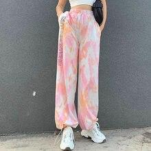 Calças femininas de esportes todos os match elástico de cintura alta solta em linha reta perna calças moda casual harajuku jogging