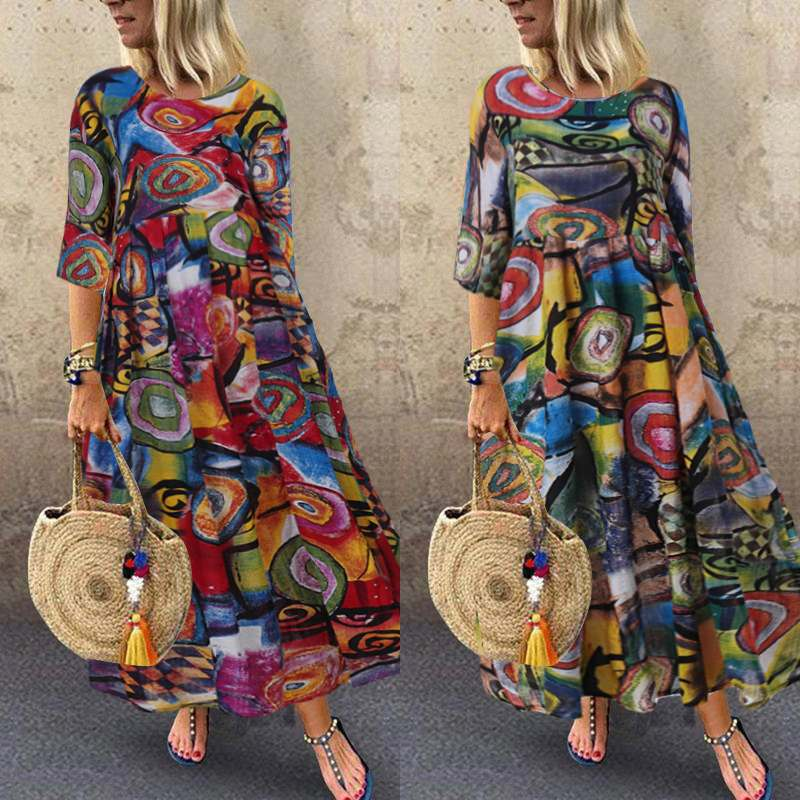 2019 Autumn Summer ZANZEA Dress Women Vintage Vestidos Robe Pleated Printed Long Maxi Dresses Plus Size Femme 3/4 Sleeve Tunic
