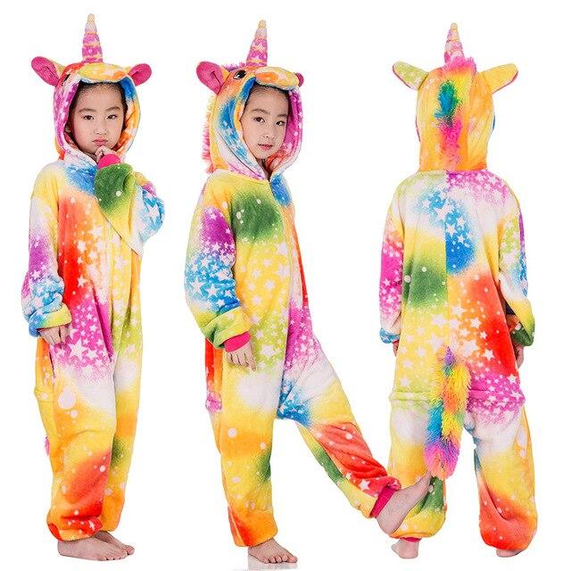 Image 4 - Kigurumi Pajamas Panda Children Girls Unicorn Pajama Boys Stitch Oneises Pijamas Unicornio for 4 6 8 10 12Years Stitch CostumeBlanket Sleepers   -