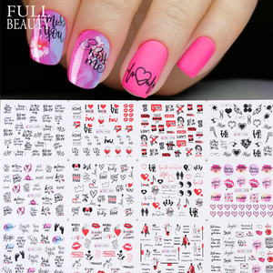 12pcs Nail Sticker Sliders Love Heart Letters Design Nail Art Water Transfer Decals Flowers Manicure Tattoos CHBN1489-1500-1(China)